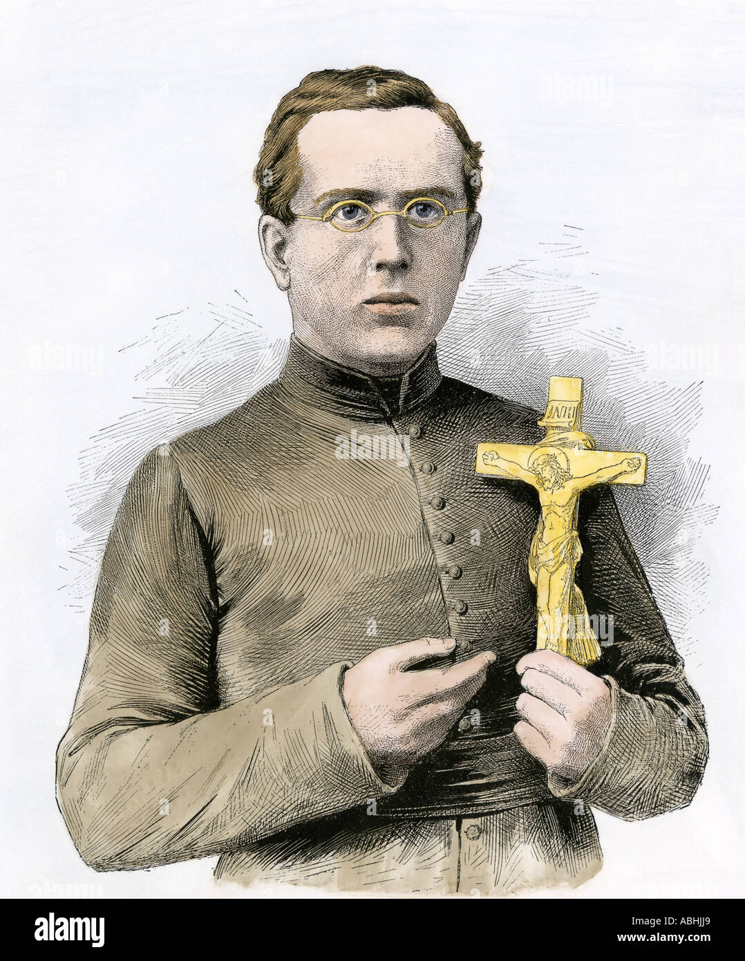 Joseph De Veuster aka Father Damien Catholic missionary to the leper colony in Hawaii 1800s. Hand-colored woodcut - Stock Image
