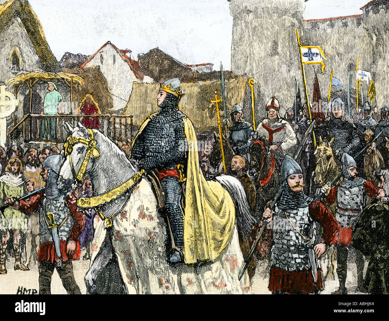 William the Conqueror and his army entering London in triumph after the Norman Invasion 1066. Hand-colored woodcut - Stock Image