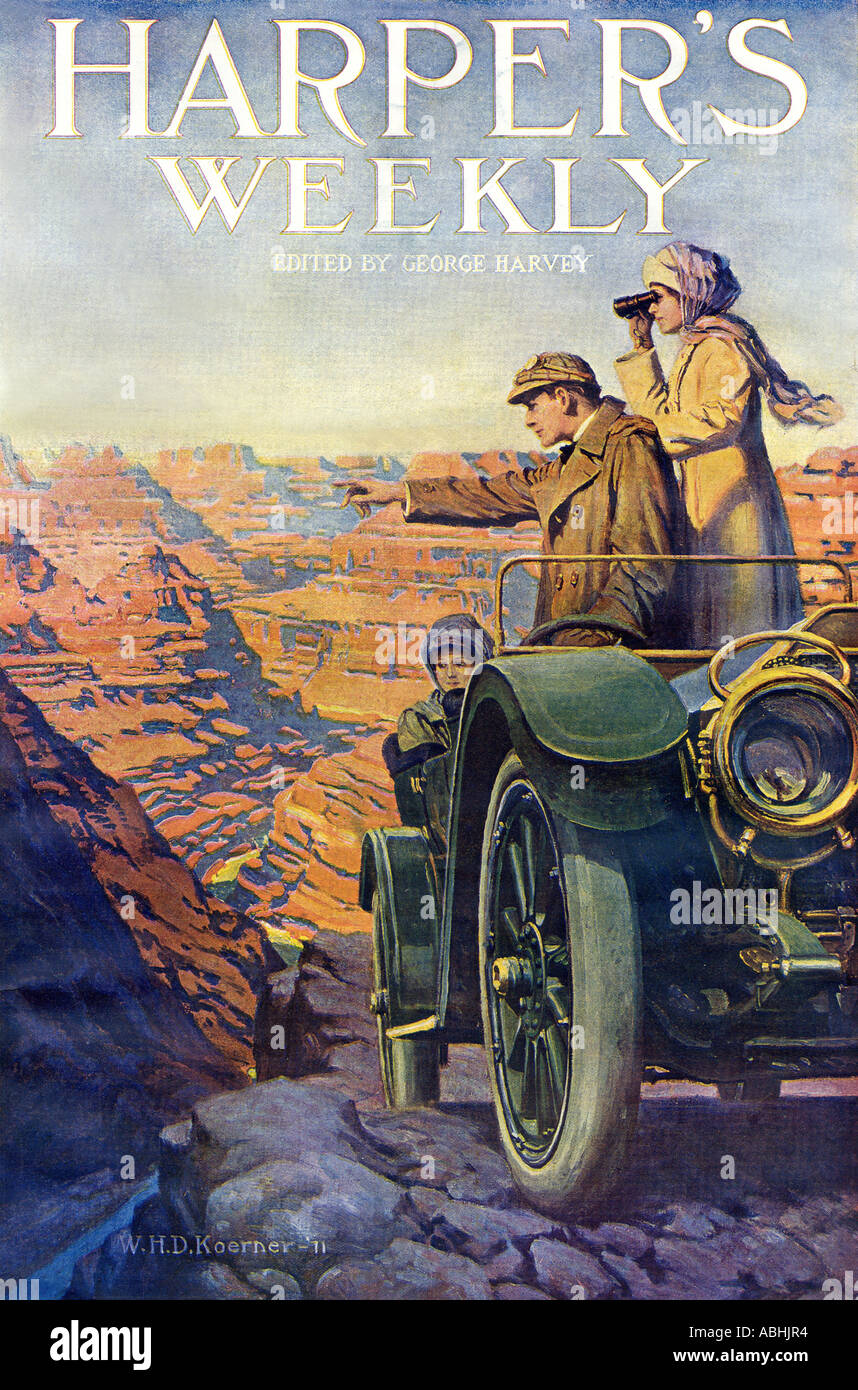 Tourists in an automobile visiting the Grand Canyon 1911 Harpers Weekly cover Automotive Issue. Color lithograph - Stock Image
