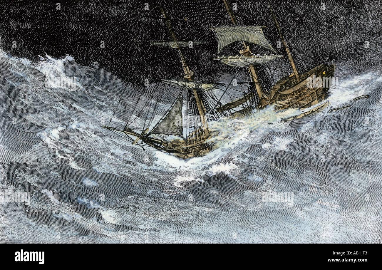 Sailing-ship struggling through stormy seas. Hand-colored woodcut Stock Photo