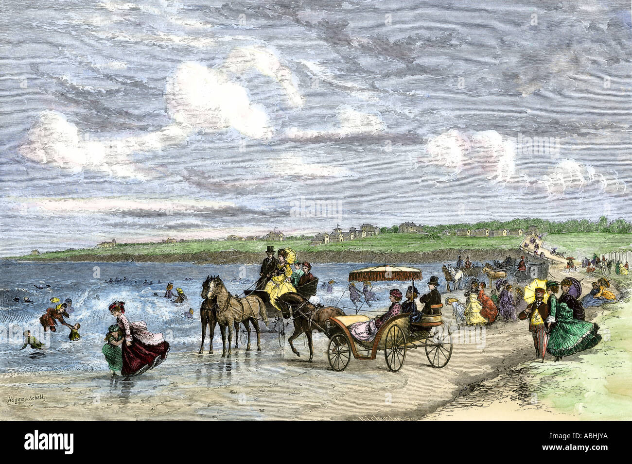 Summer vacationers on the beach in Newport Rhode Island 1870s. Hand-colored woodcut - Stock Image