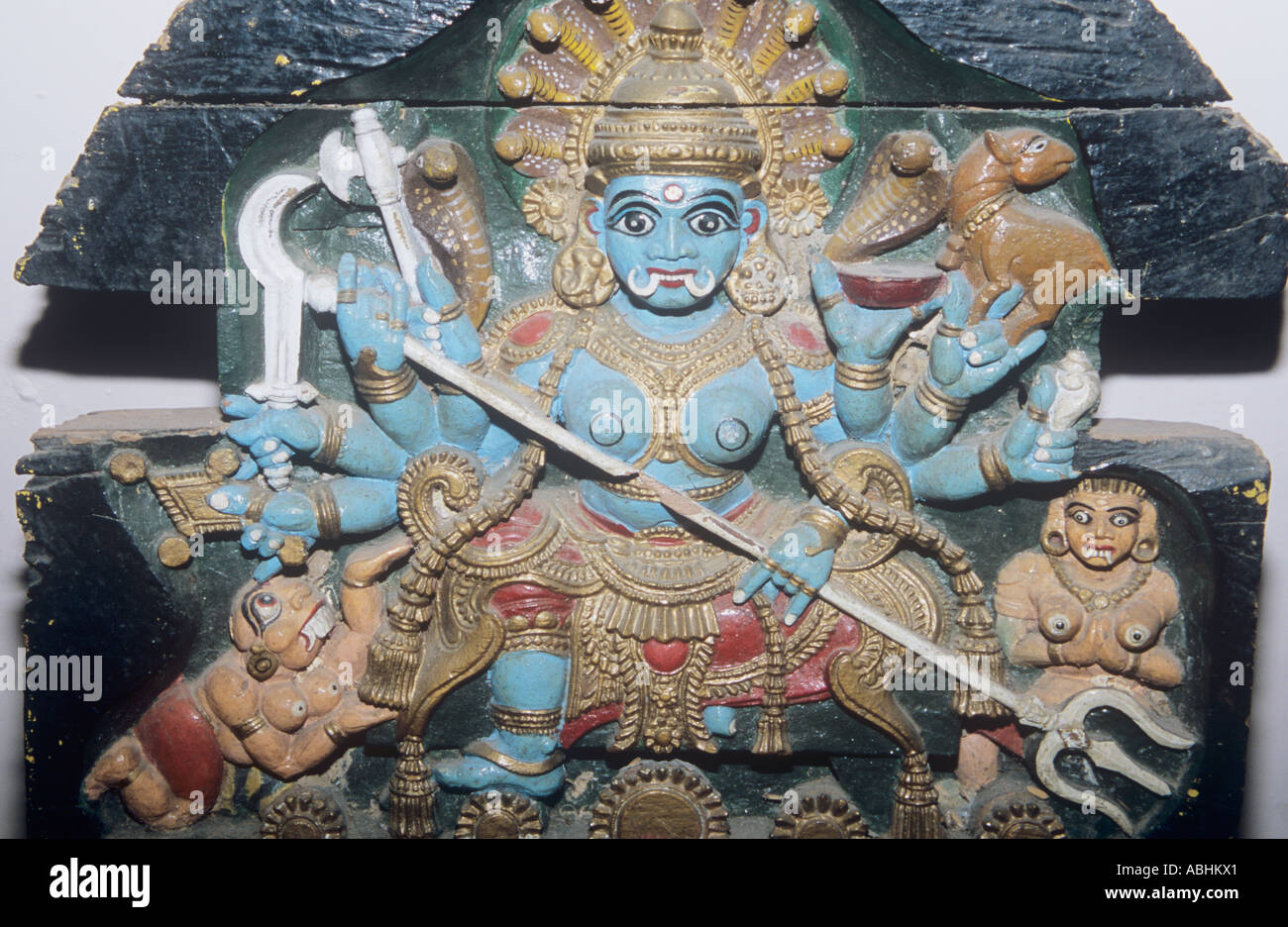 Composite of the Supreme being, Hindu wood carving  Meenakshi Temple in Madurai - Stock Image