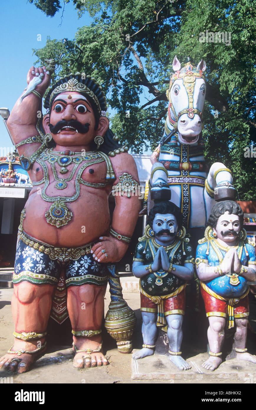 Village temple gods in Tamil Nadu, India - Stock Image