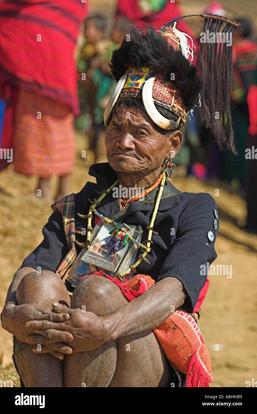 MYANMAR Naga chief of Magyan village wearing tradition headdress with wild boars teeth bear fur also tiger teeth necklace  - Stock Image
