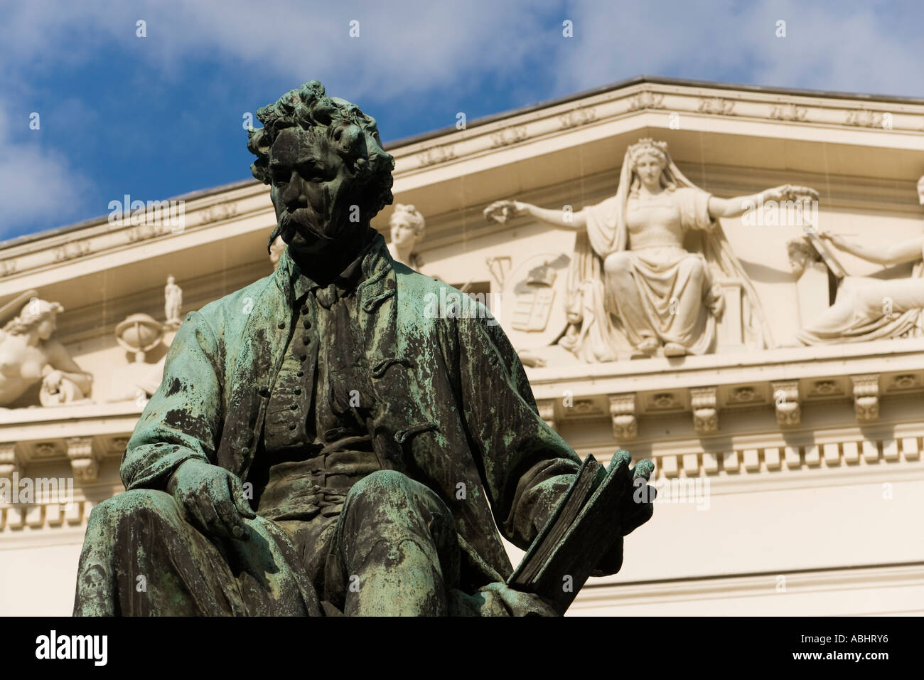 Monument to Poet János Arany in front of Hungarian National Museum Pest Budapest Hungary Stock Photo