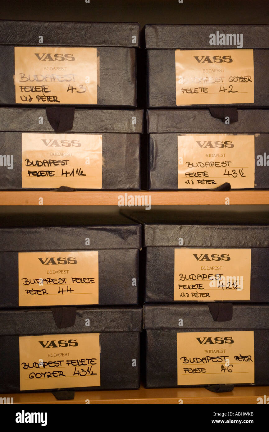 Shoe cartons with the lable Vass Pest Budapest Hungary - Stock Image