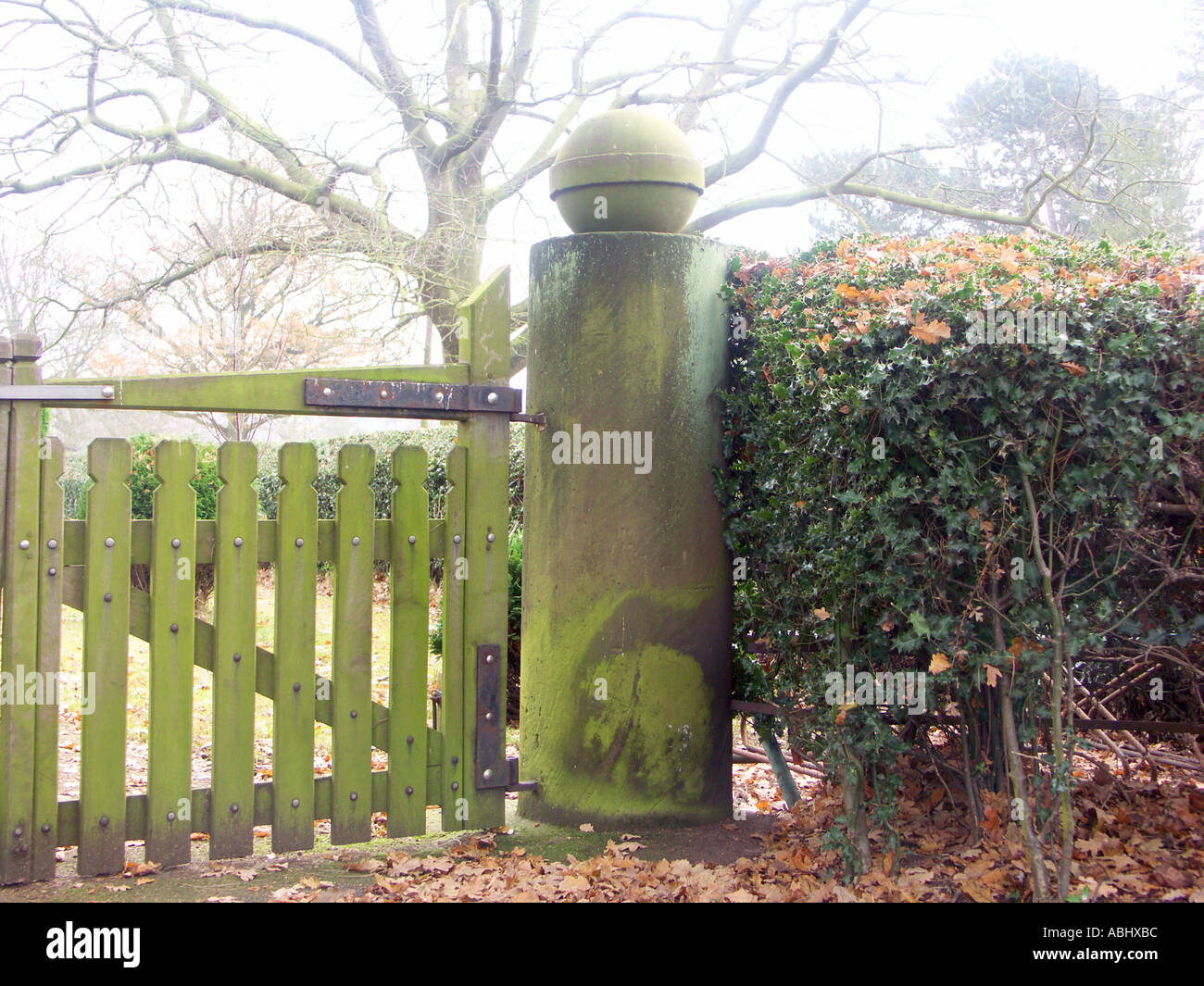 Large stone gatepost at the entrance the grounds of Canwell Church. - Stock Image