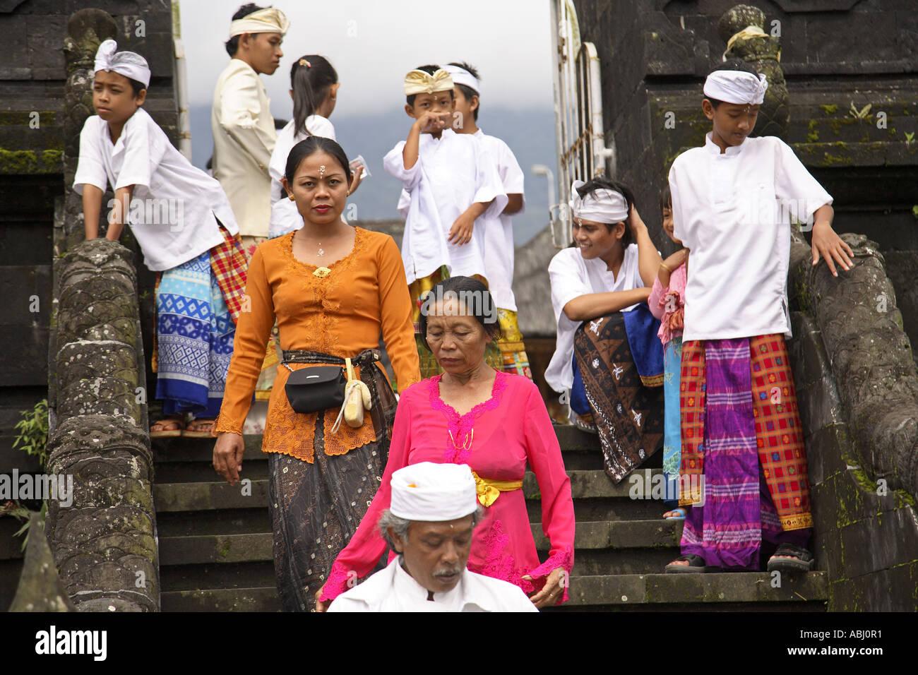 Village People At Besakih Temple Bali Indonesia Stock