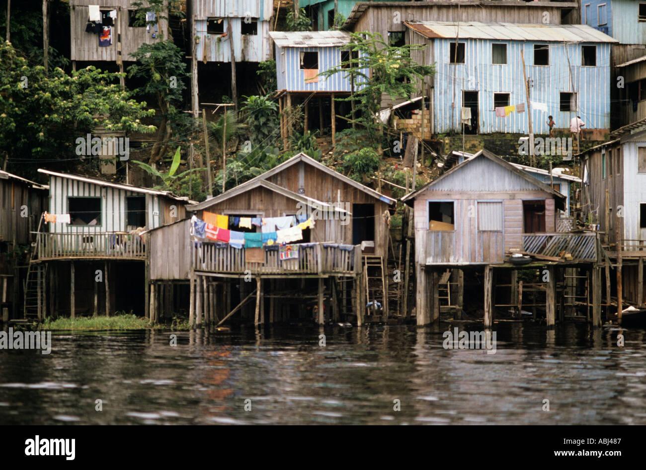 Manaus Brazil Poor Shanty Town Housing Houses Built On