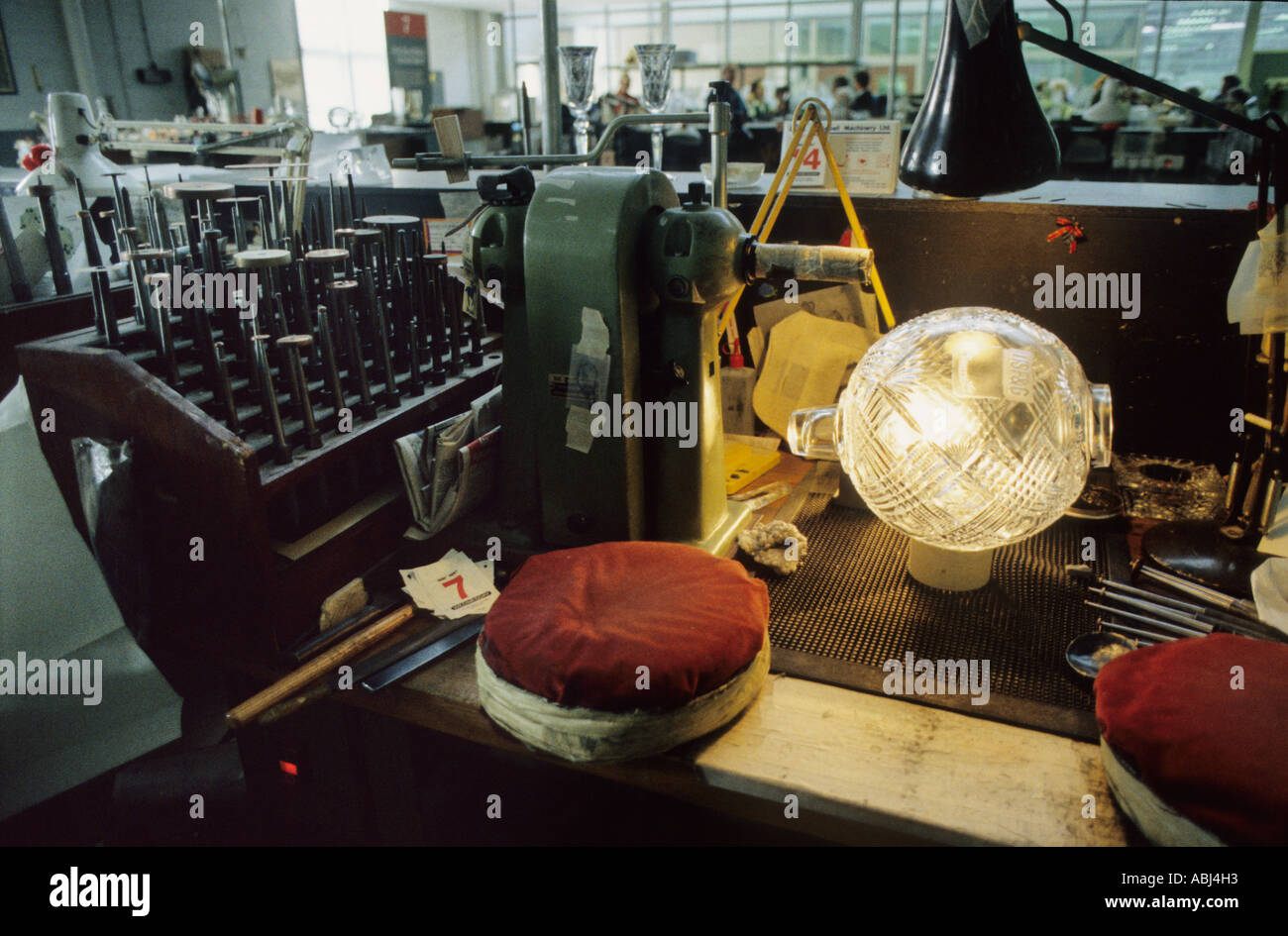 Craftsman's bench at Waterford Crystal factory, Waterford, Republic of Ireland - Stock Image