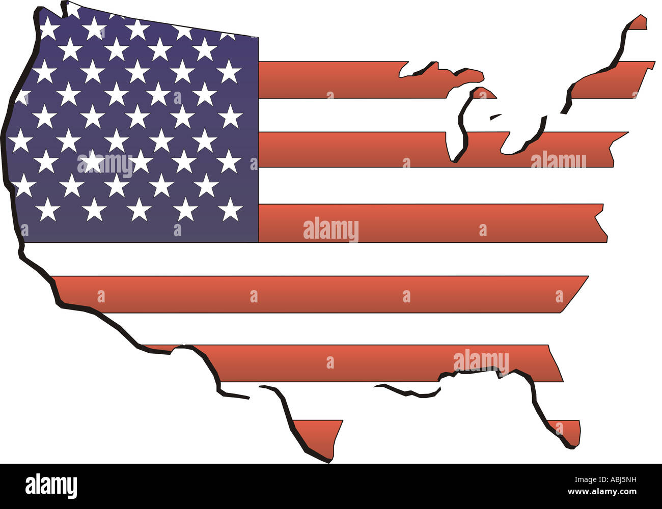 American  flag composited on drawing on the United States - Stock Image