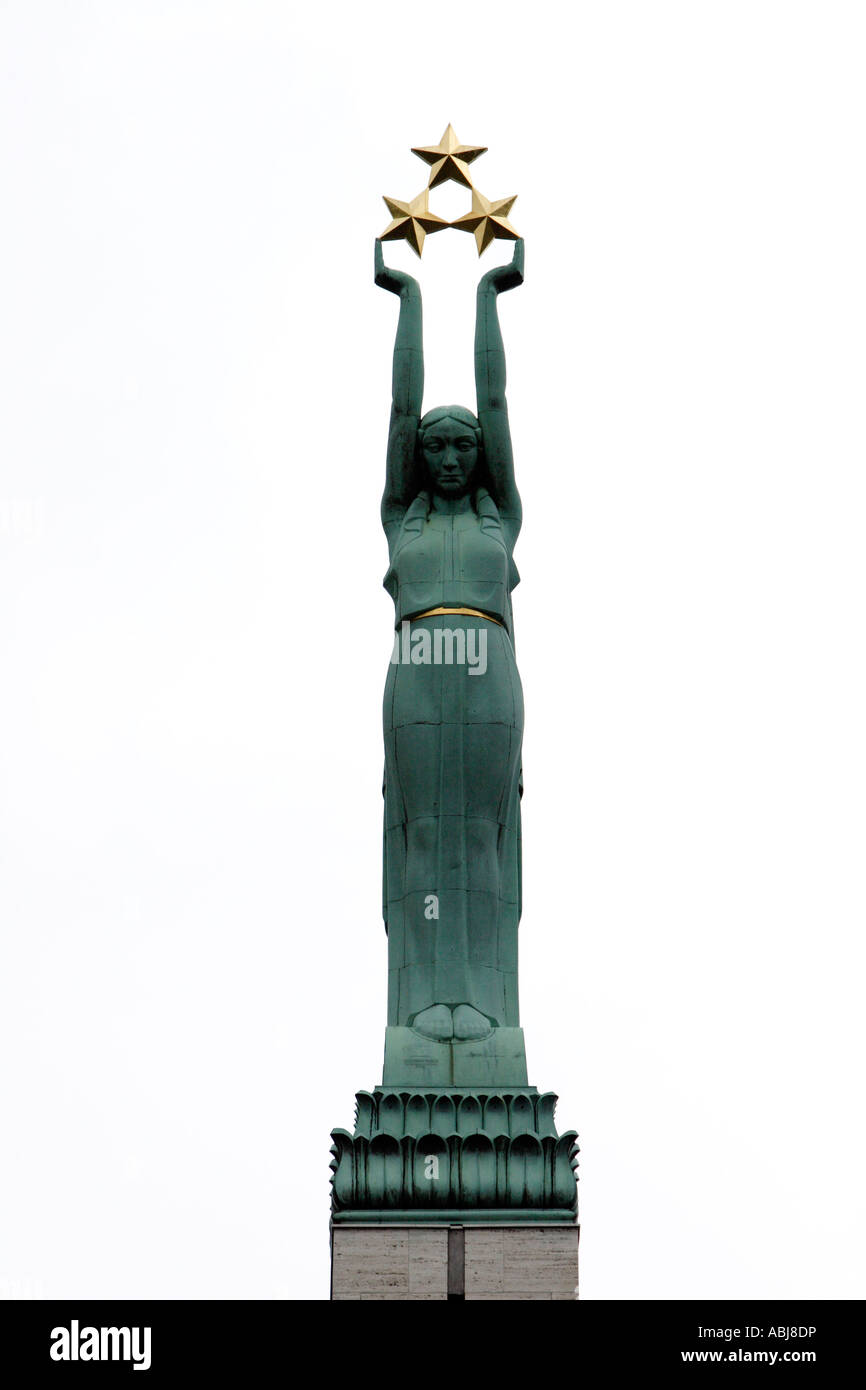 Milda statue is seen on top of Freedom Monument in Riga, Latvia Stock Photo