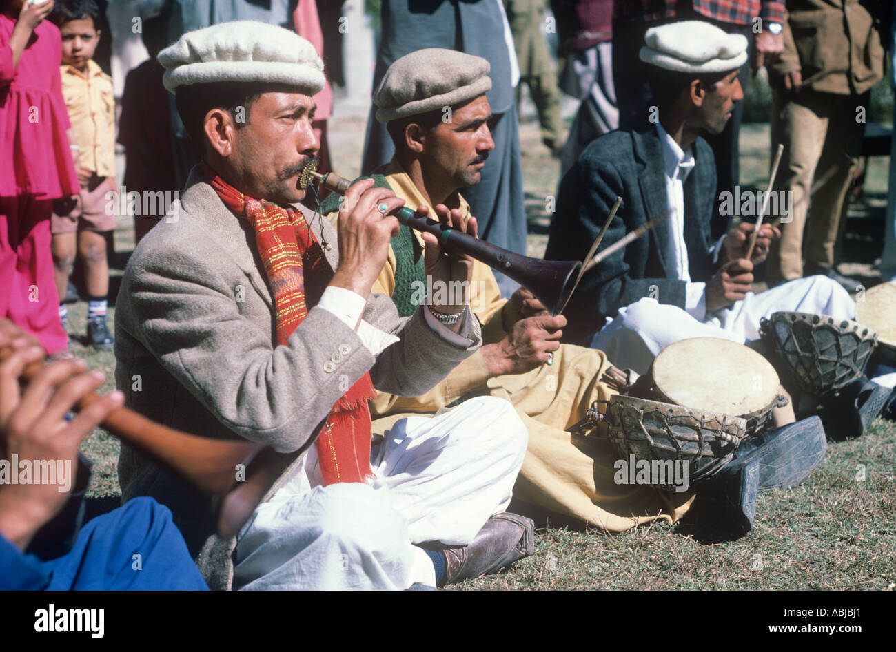 Musicians in Hunza, play at a tribal wedding, Northern Areas of Pakistan - Stock Image