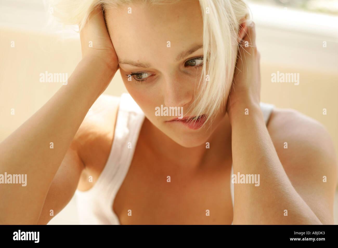 Worried girl - Stock Image