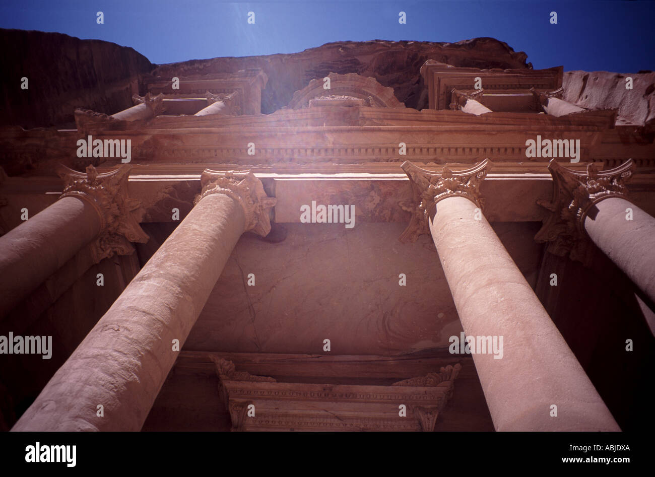 Columns at the front face of the Treasury in Petra, Jordan - Stock Image