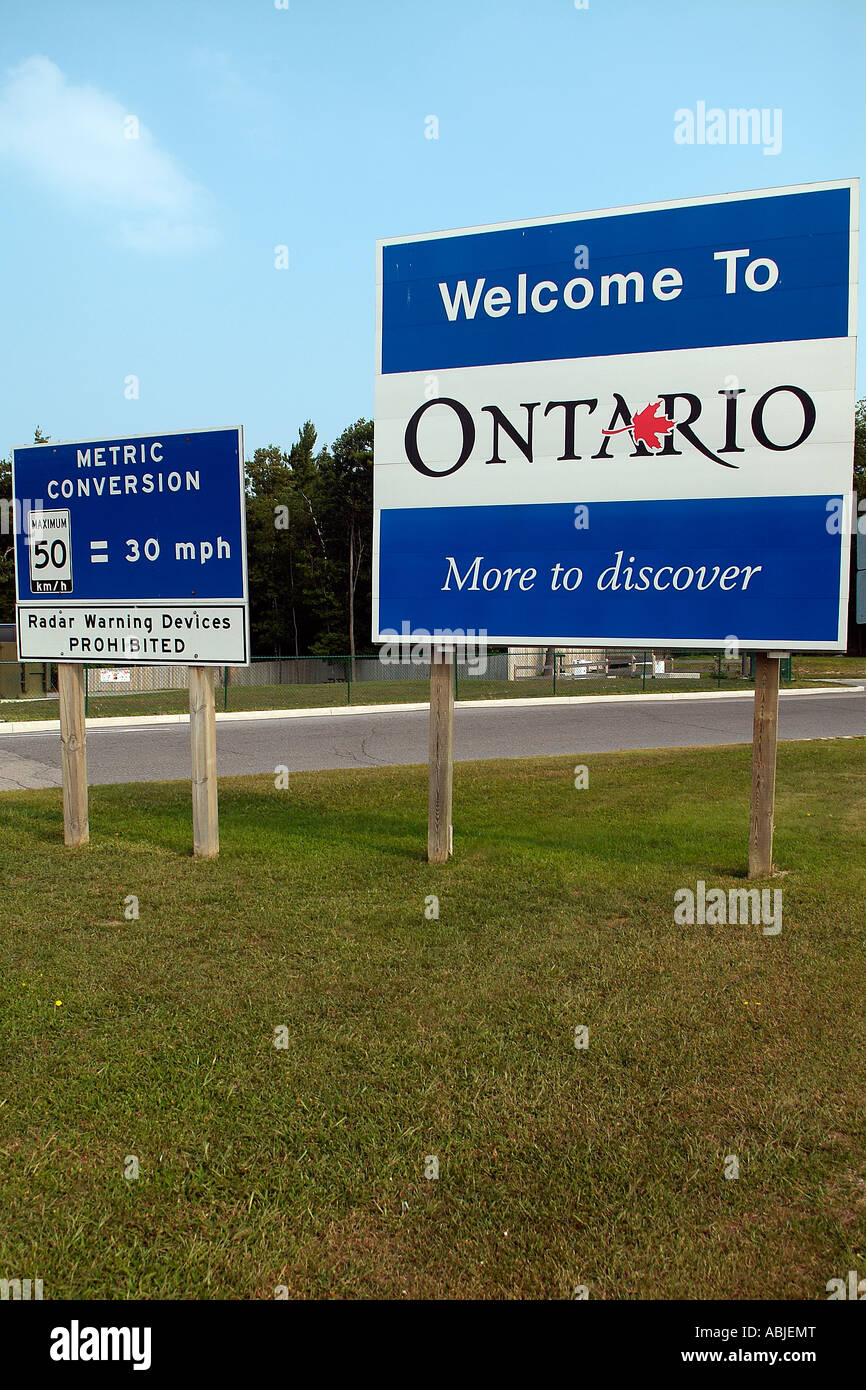 Welcome sign to Ontario in Canada - Stock Image