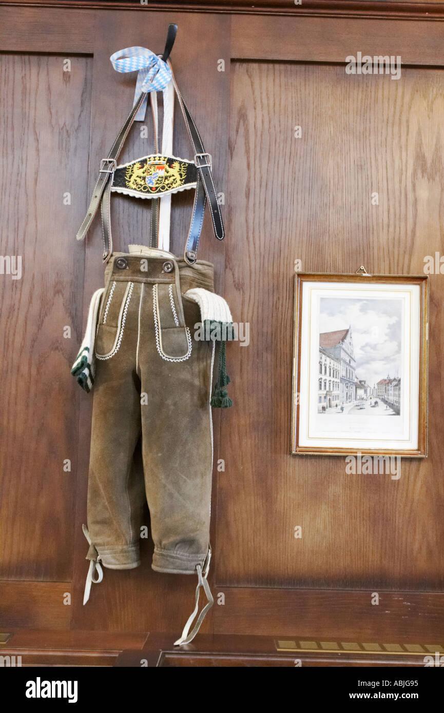 Traditional Bavarian lederhosen. Munich, Bavaria, Germany. - Stock Image