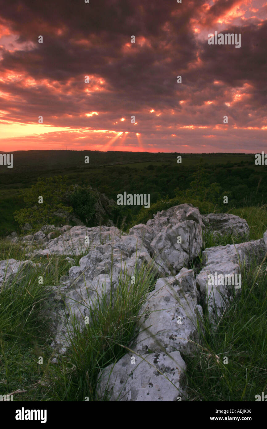 Sunset over Cheddar Gorge - Stock Image