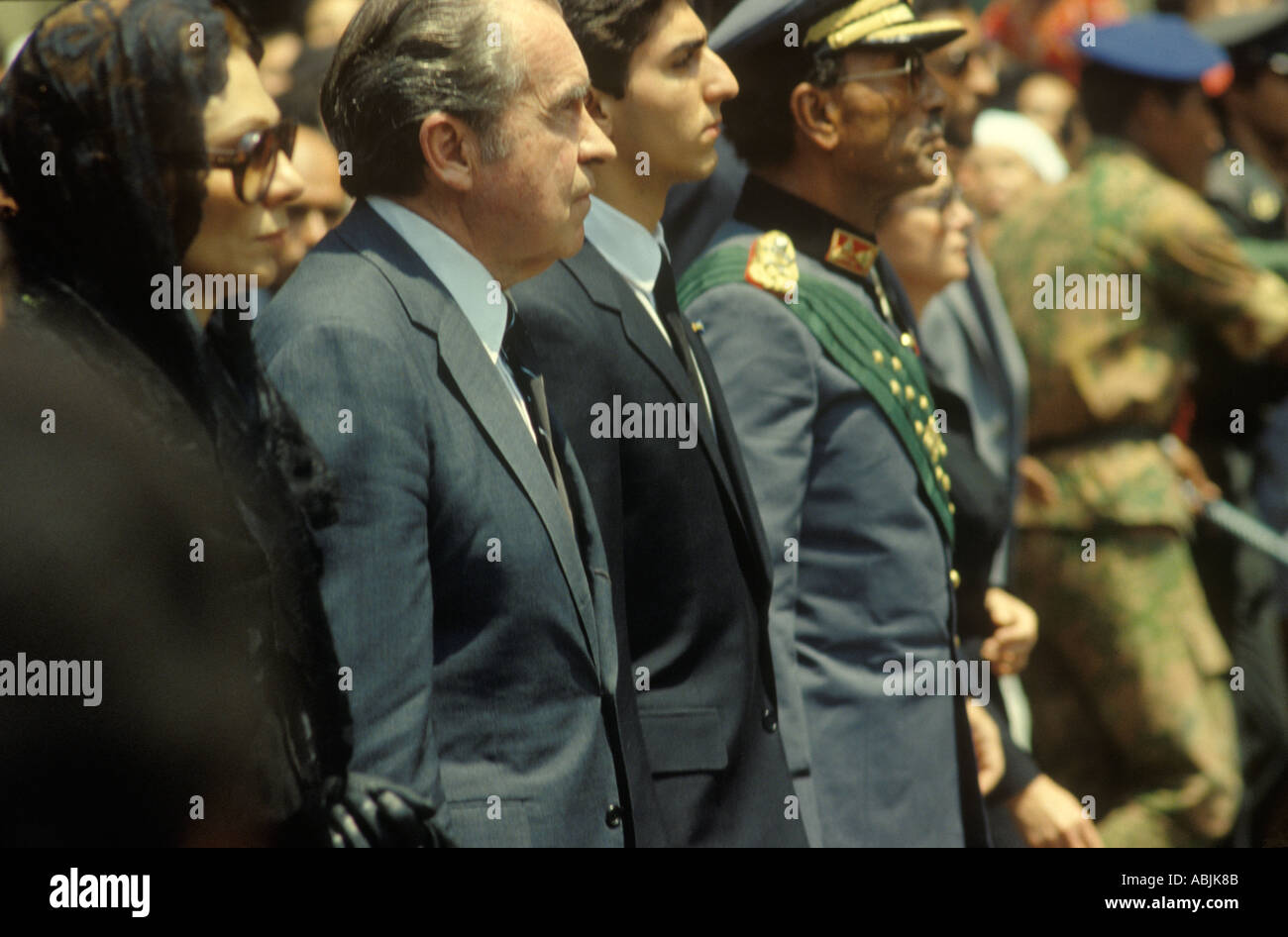 President Nixon of the United States of America state funeral of the Shah of Iran in Cairo Egypt  1981 HOMER SYKES - Stock Image