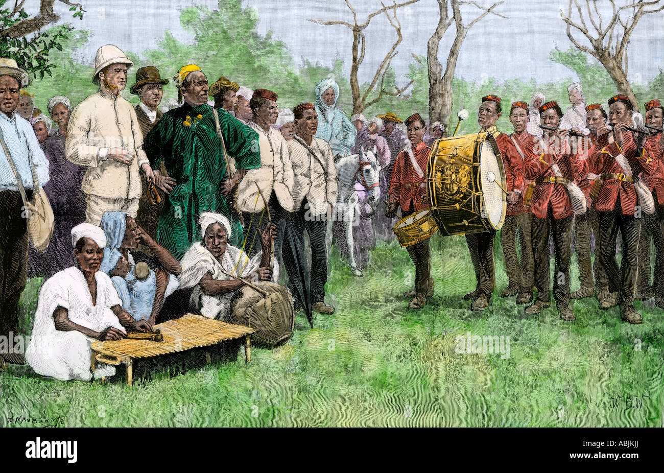 British colonial administrator of Gambia meeting with a native chief 1889. Hand-colored woodcut - Stock Image