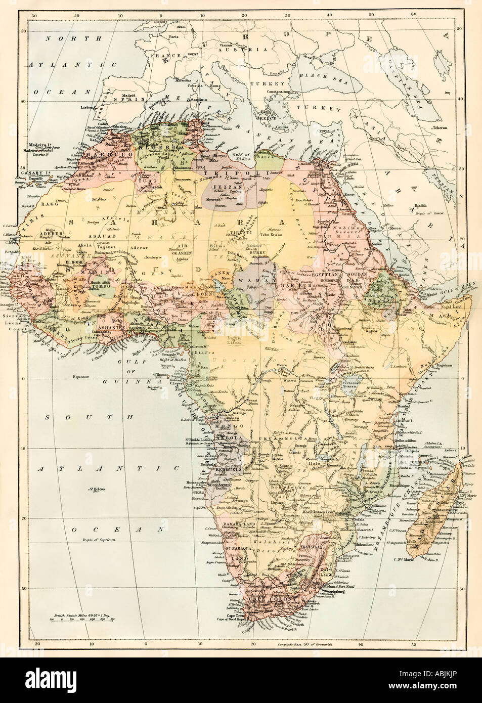 Map of Africa in the 1870s. Color lithograph - Stock Image