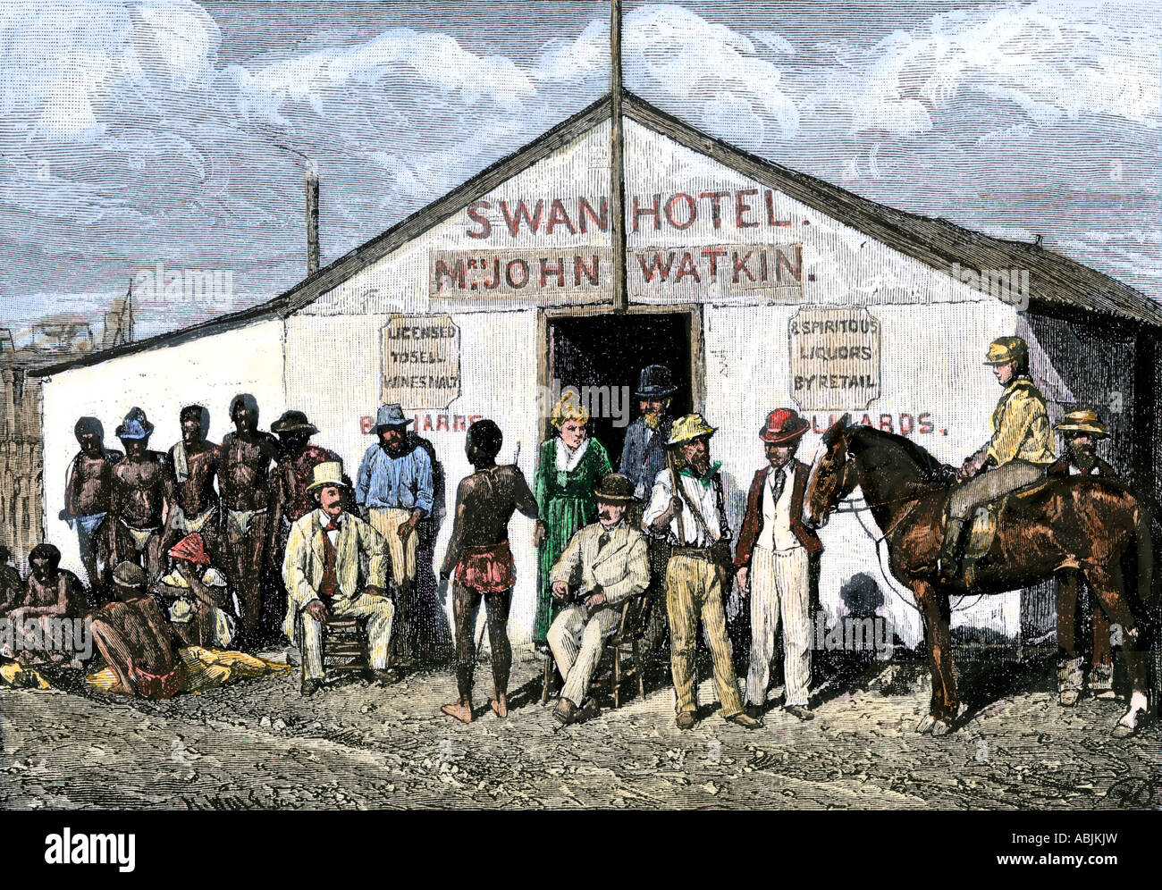 Hotel in the diamond mining region of South Africa 1870s. Hand-colored woodcut - Stock Image