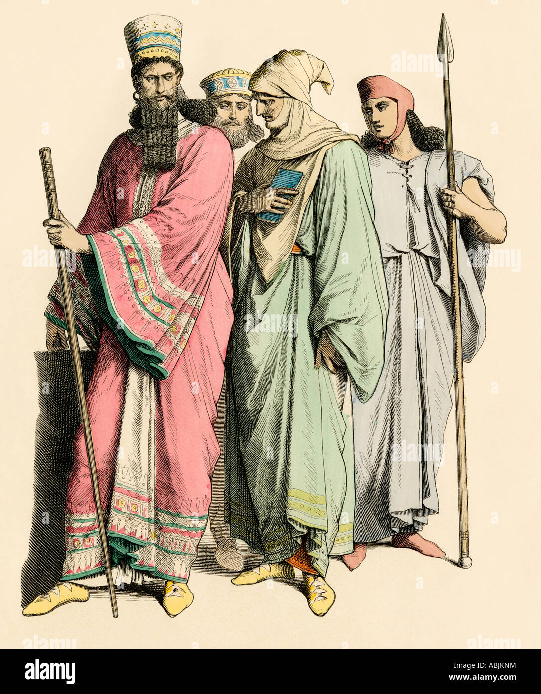 Babylonian and Persians. Hand-colored print Stock Photo