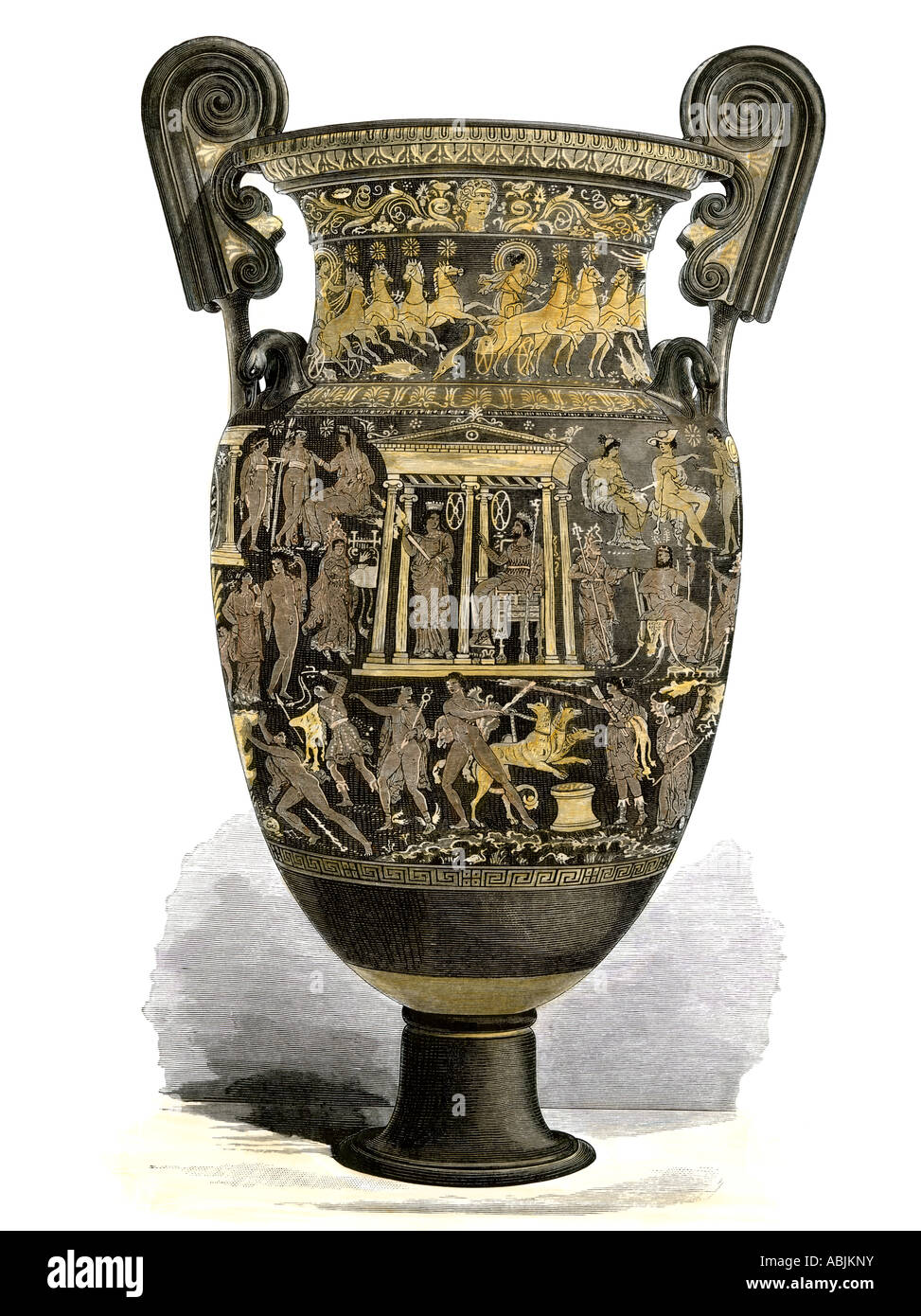 Richly decorated Greek urn. Hand-colored woodcut - Stock Image