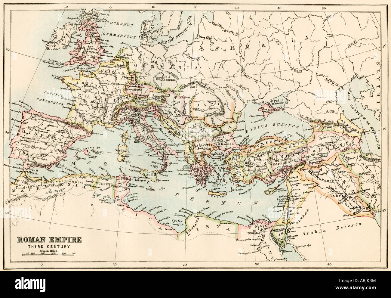 Map of the Roman Empire in the third century AD. Color lithograph - Stock Image