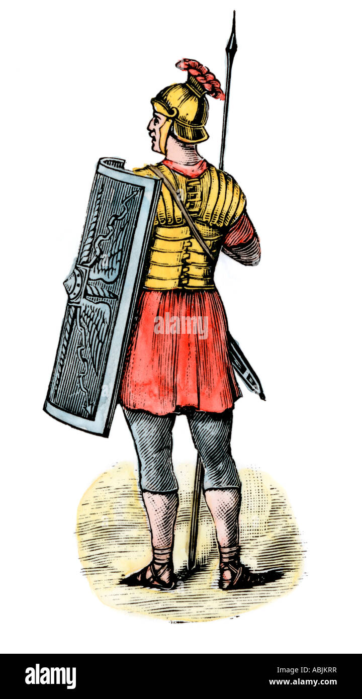 Soldier in the Roman army. Hand-colored woodcut - Stock Image