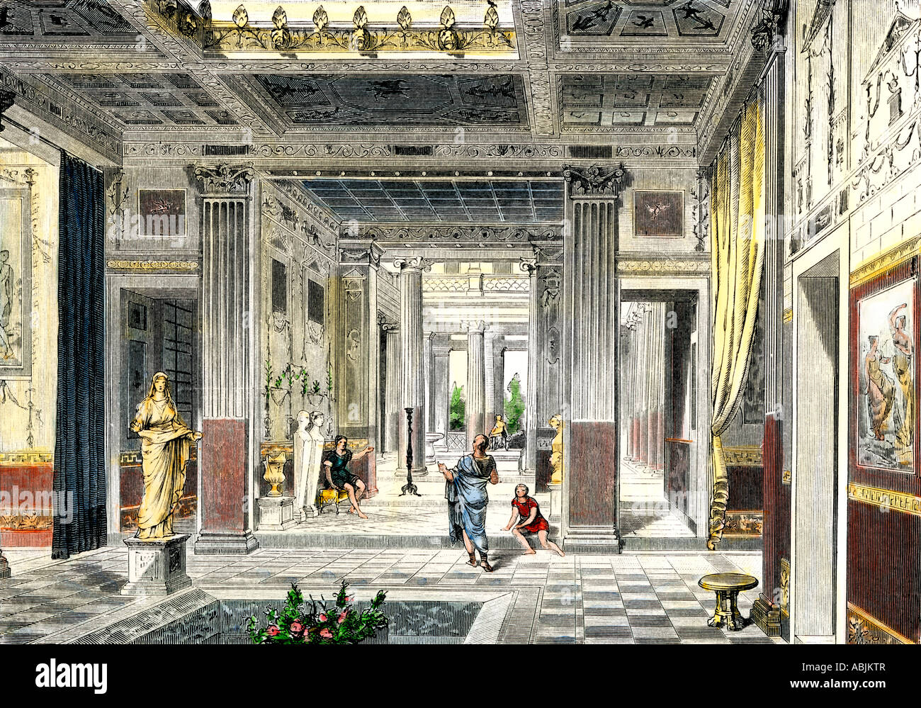 Roman house viewed from the atrium through the tablinuminto of the peristyle and a garden. Hand-colored woodcut - Stock Image