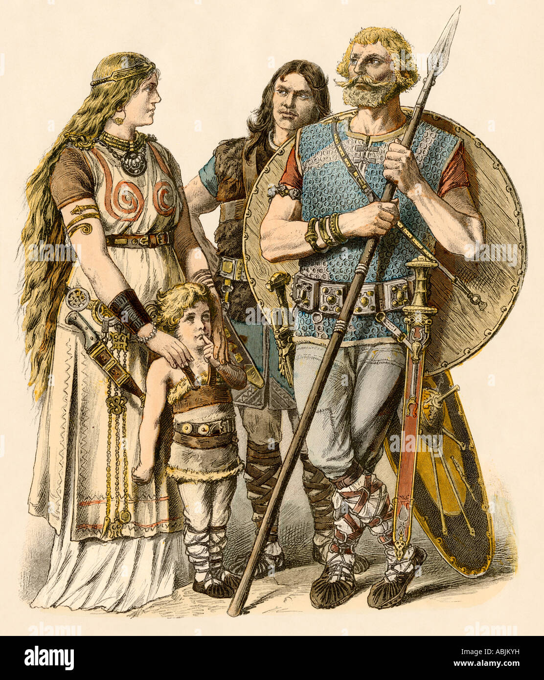 Europeans of the early Middle Ages Stock Photo: 12908212 ...