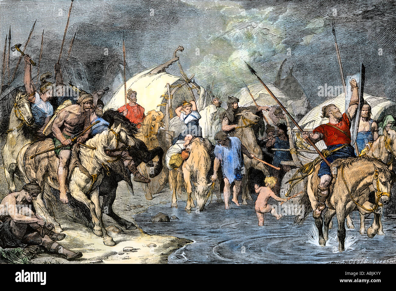 Migrating Teutons enter Gaul in ancient times. Hand-colored woodcut - Stock Image
