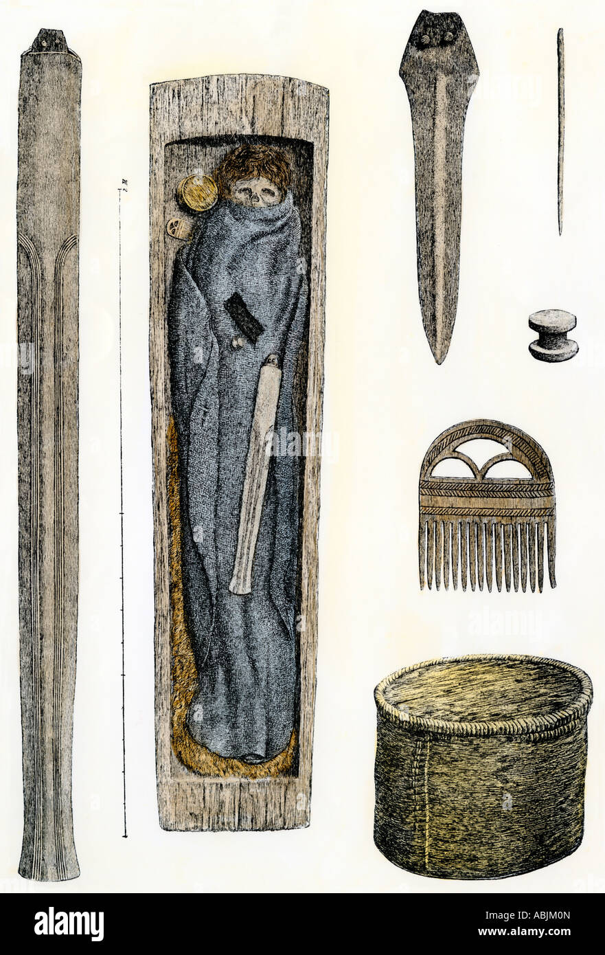Prehistoric burial artifacts found in Jutland. Hand-colored woodcut - Stock Image