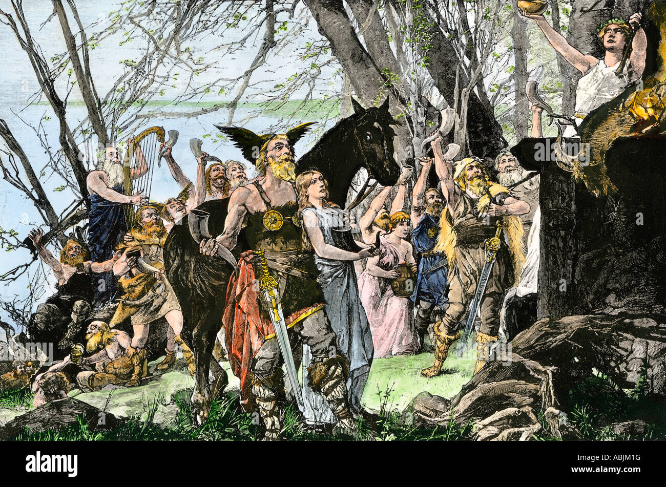 Franks offering an animal sacrifice before invading Gaul. Hand-colored woodcut - Stock Image