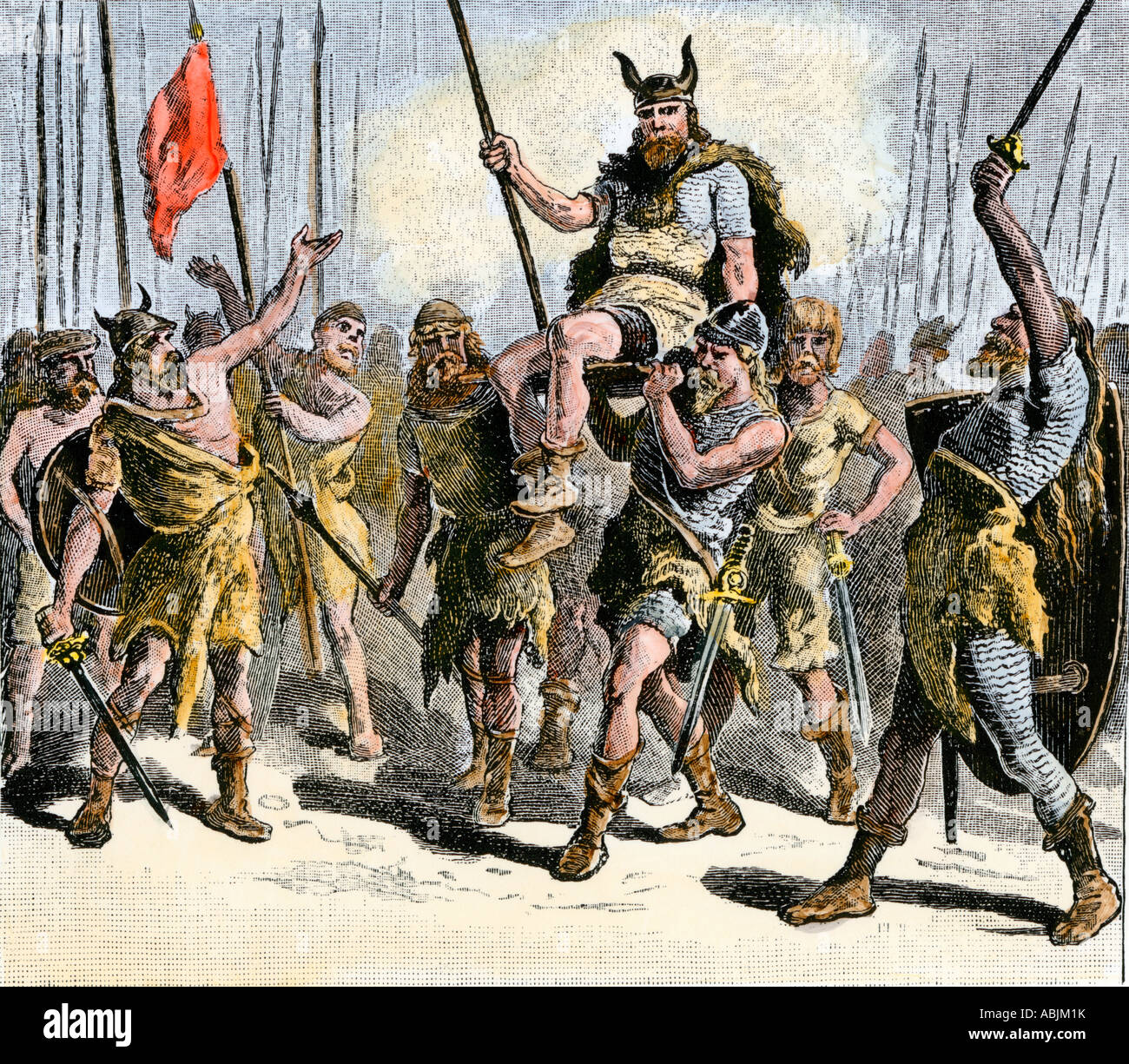 Teutonic warriors elevating their leader on a shield after a victory - Stock Image