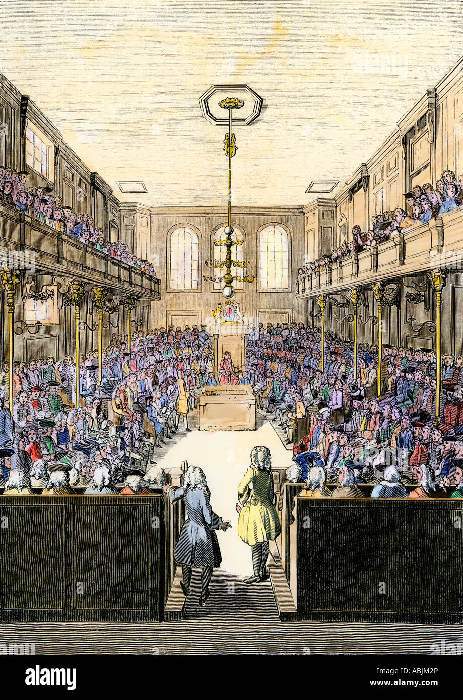 House of Commons in session during the reign of King George II. Hand-colored woodcut - Stock Image