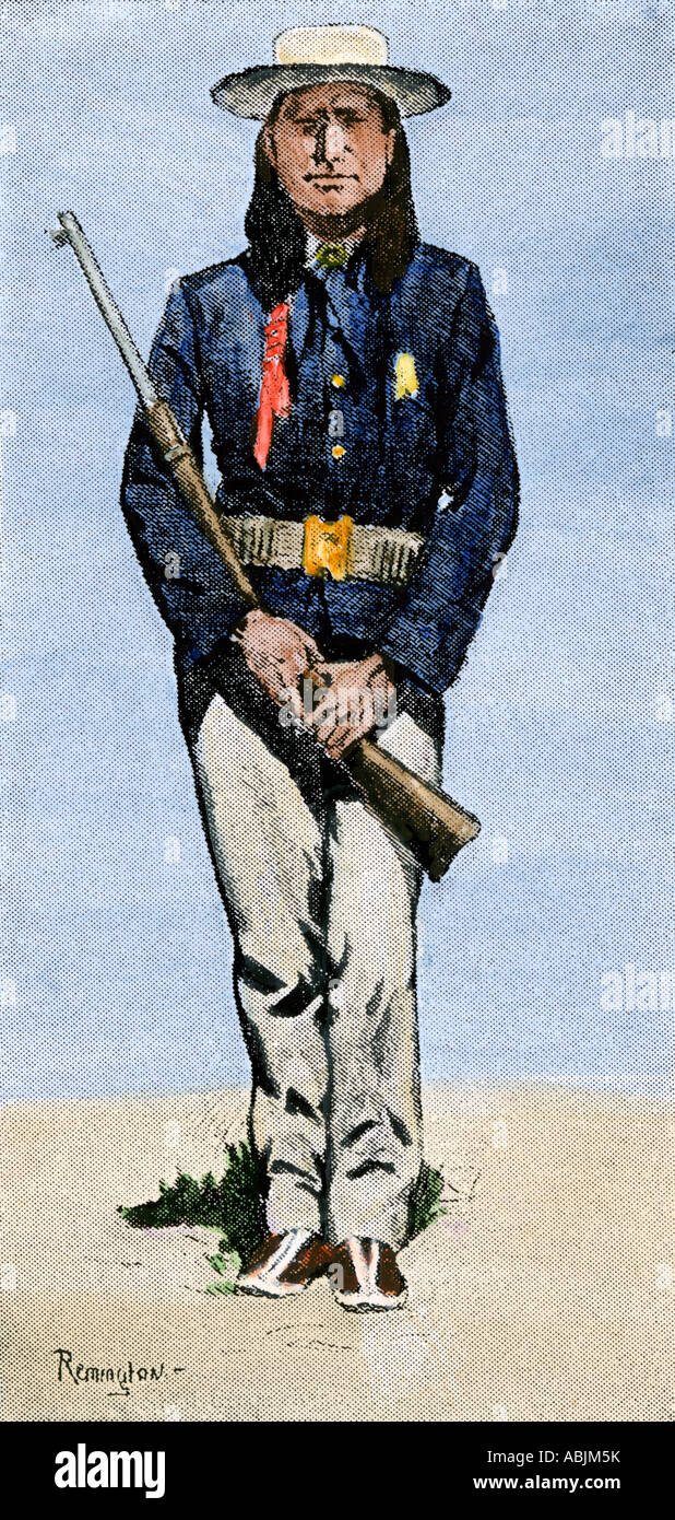 Arapaho scout for the US Cavalry 1800s. Hand-colored halftone of a Frederic Remington illustration - Stock Image