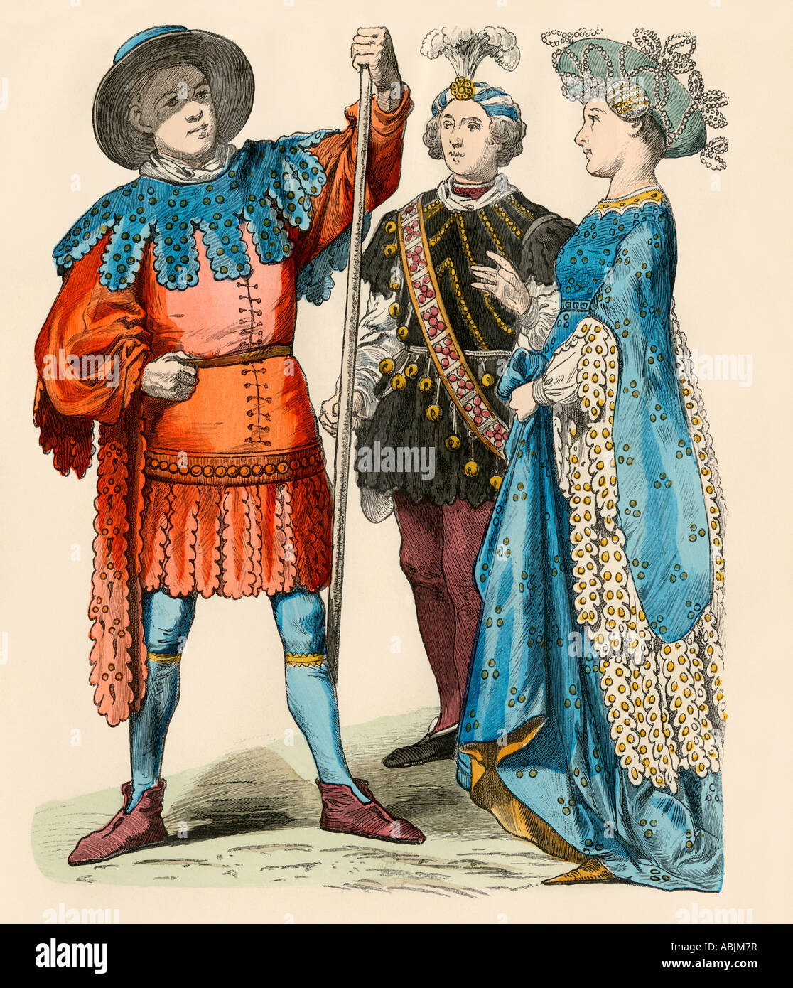 German fashion of the Renaissance about 1499. Hand-colored print - Stock Image