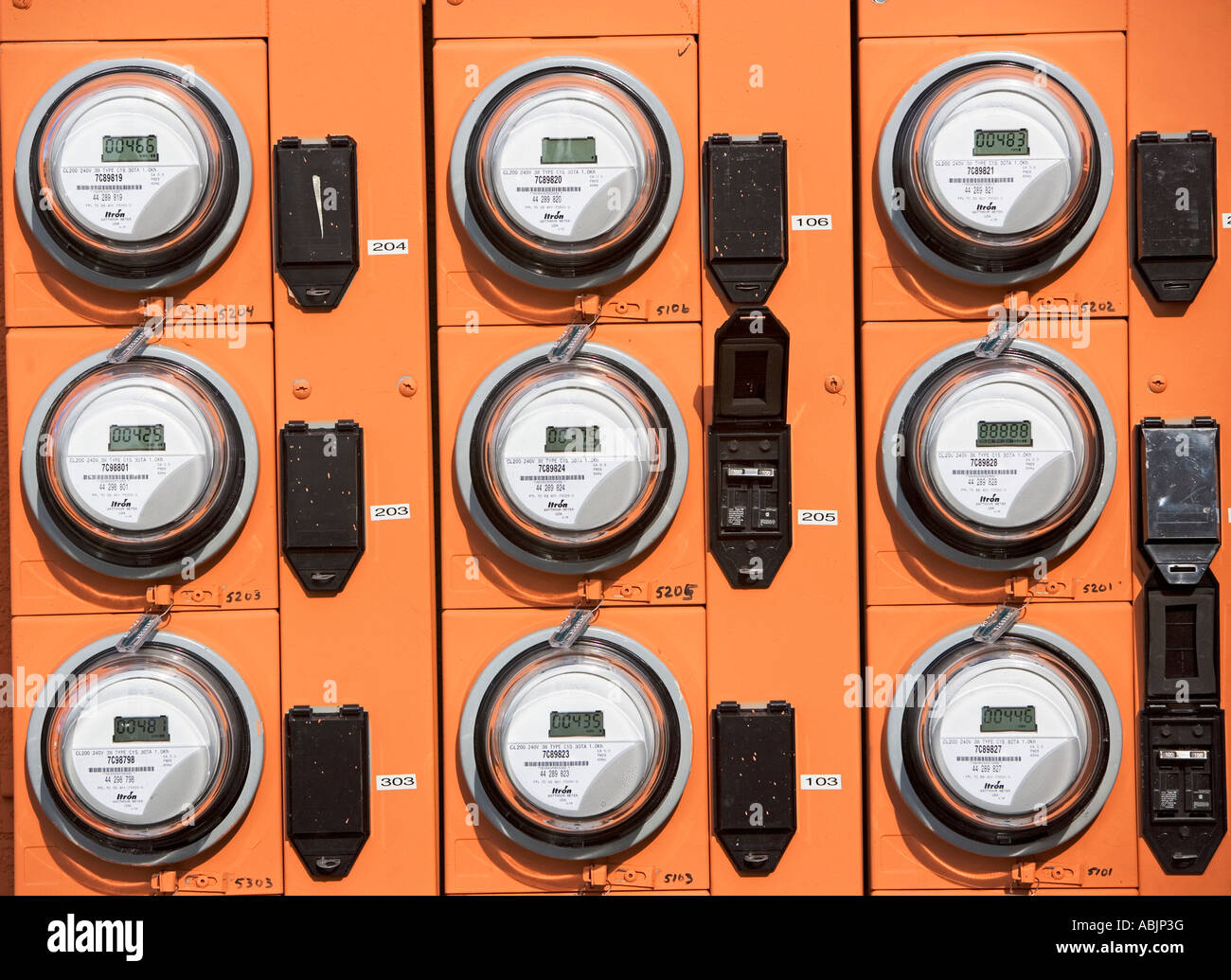 Rows of electric meters - Stock Image