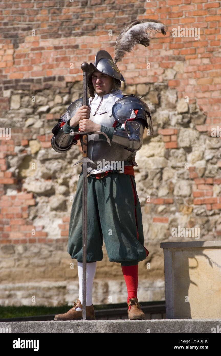 knight guard in armour and helmet with sword in sandomierz poland