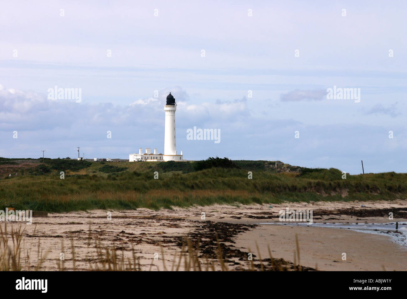 Covesea Lighthouse at West Beach at Lossiemouth Moray Scotland - Stock Image