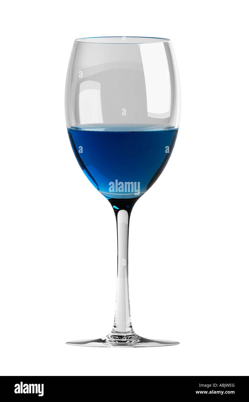 Half full Wine glass - Stock Image