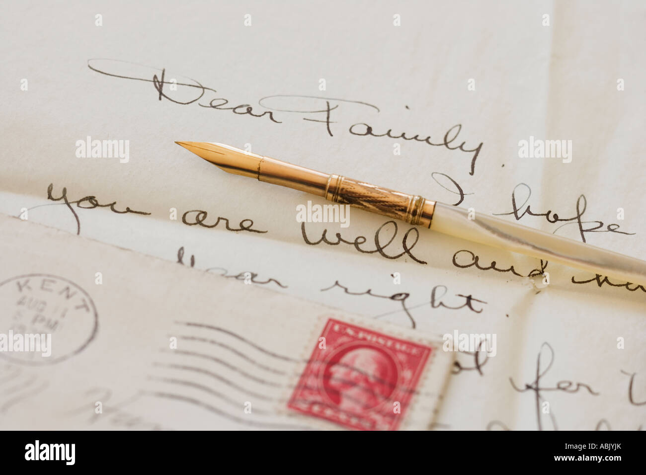 Quill pen on old letter - Stock Image