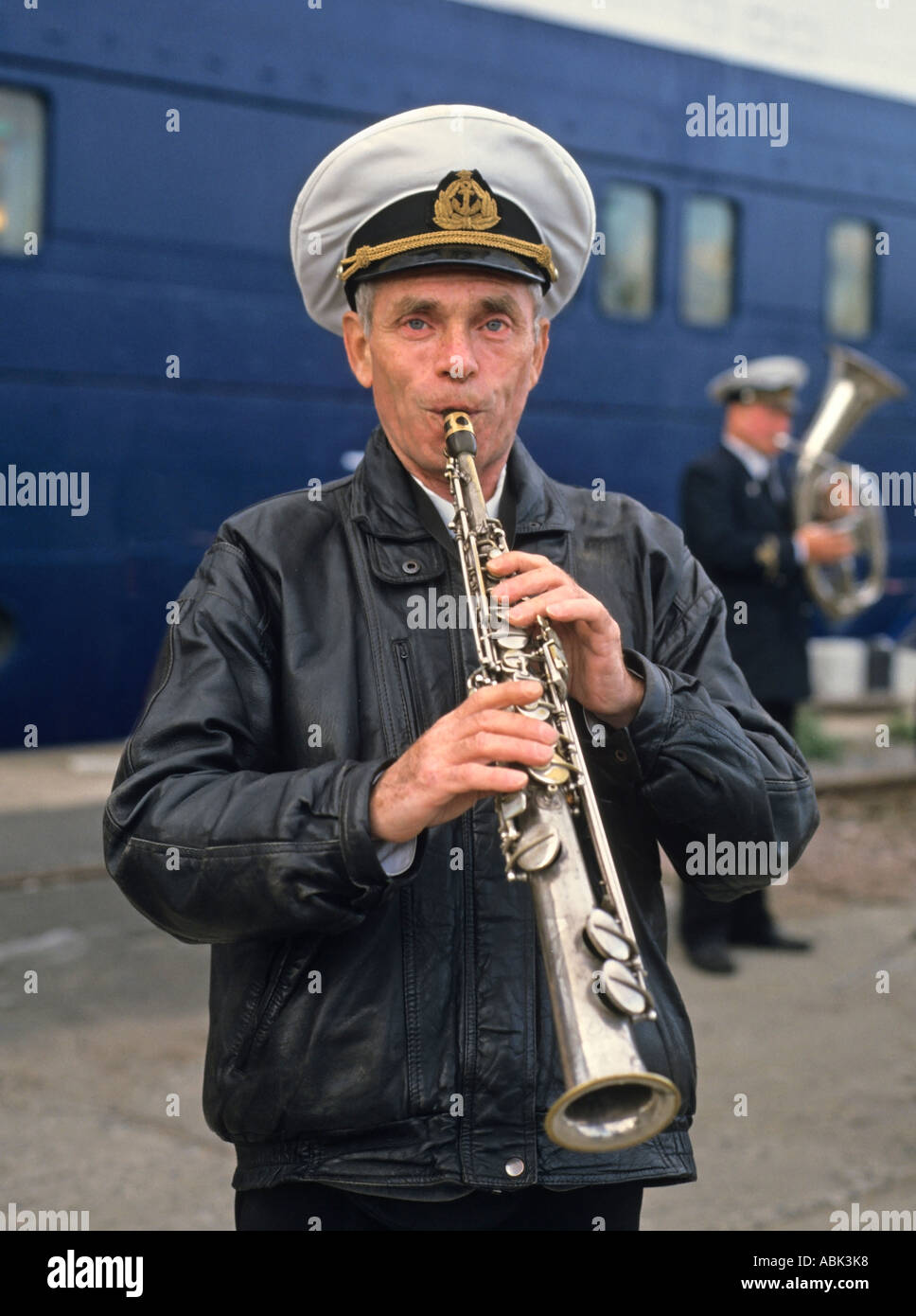Russian fanfare welcoming cruise ship passengers on the pier of Sankt Petersburg, Russia - Stock Image