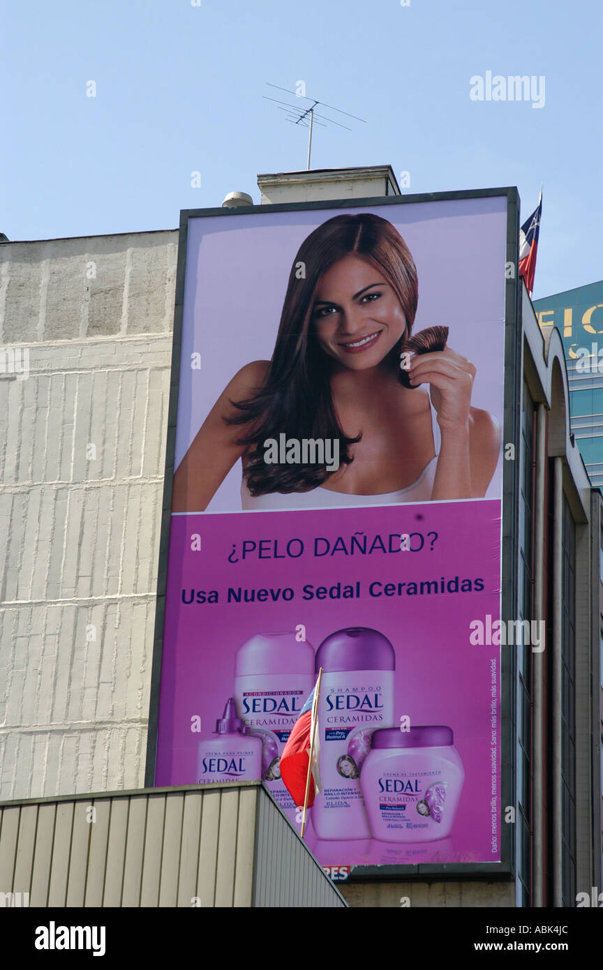 Advertising cosmetics in Santiago de Chile, Latinamerica - Stock Image