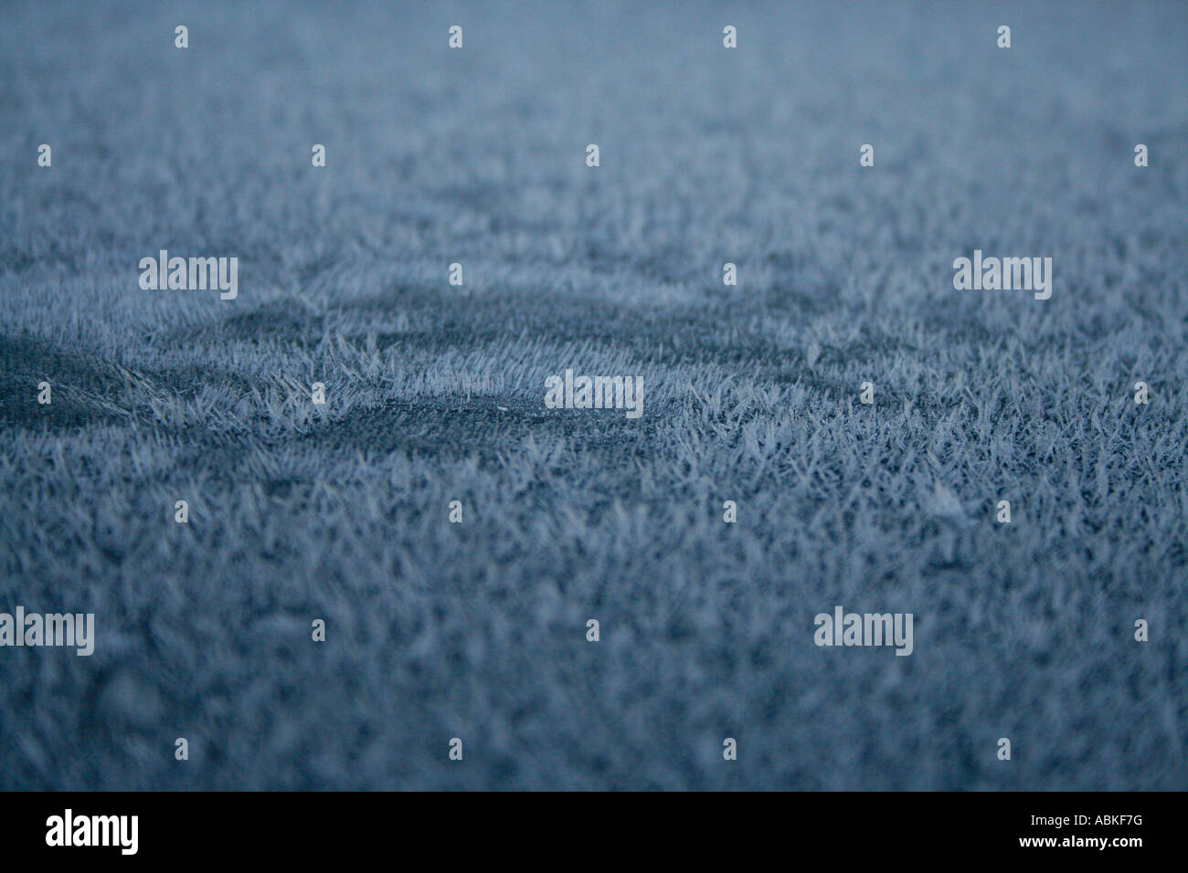 Frost on blue car roof - Stock Image