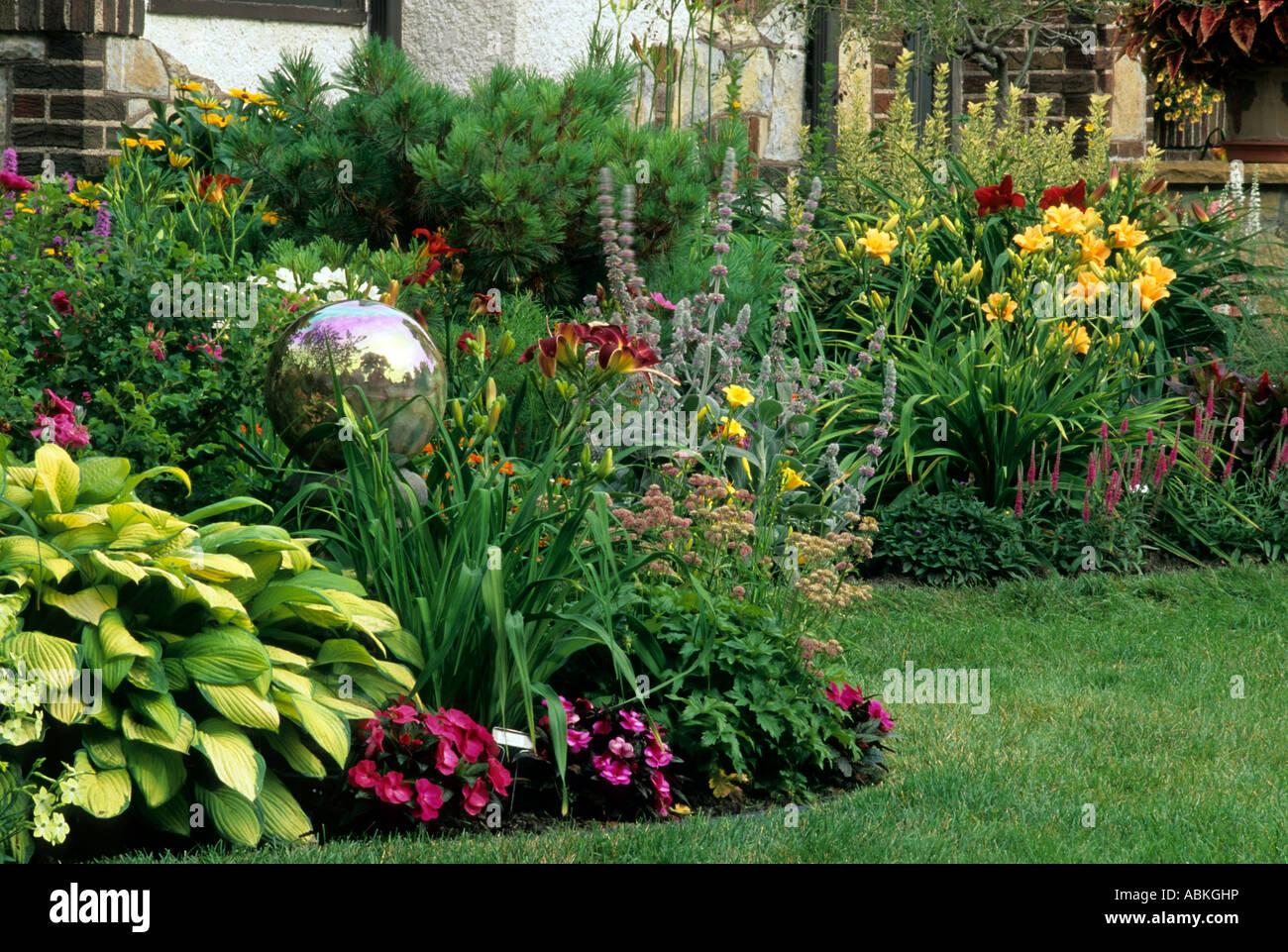 Minneapolis minnesota perennial border garden gazing ball hosta minneapolis minnesota perennial border garden gazing ball hosta impatiens daylilies summer america mightylinksfo