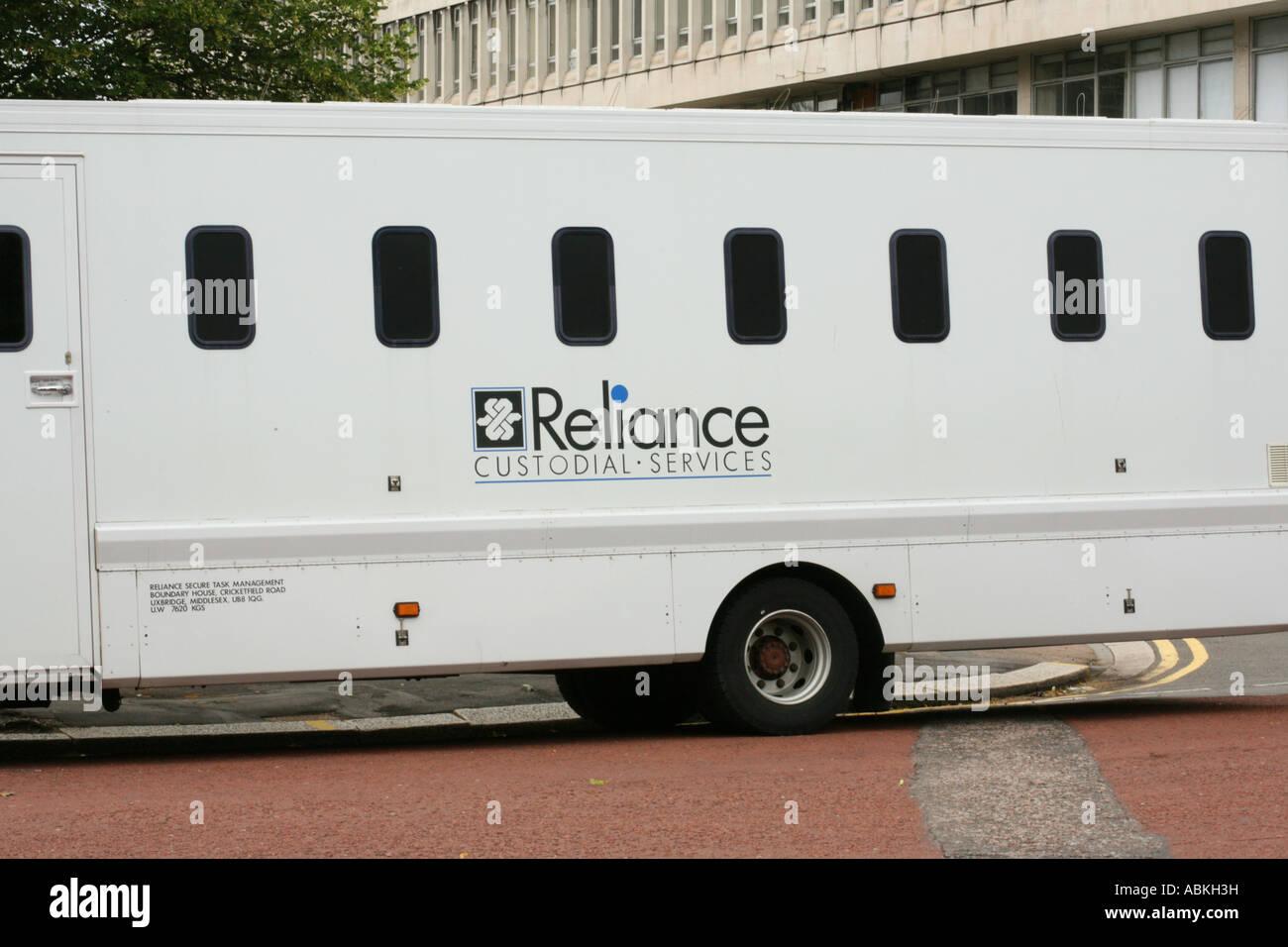 Reliance custodial services prison van jail bus - Stock Image