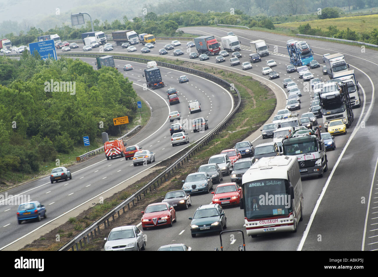 congested m3 motorway UK - Stock Image